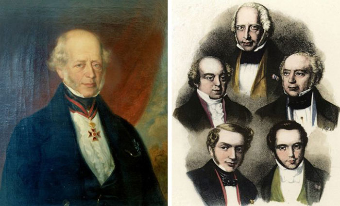 Amschel Mayer Rothschild (soldaki) ve 5 oğlu: Nathan, Salomon, James, Carl ve Amschel
